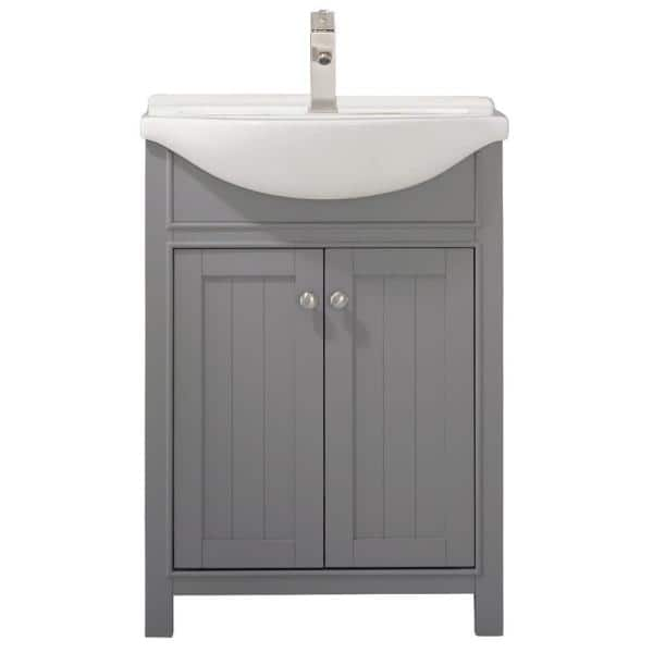 Design Element Marian 24 In W X 17 In D Bath Vanity In Gray With Porcelain Vanity Top In White With White Basin S05 24 Gy The Home Depot
