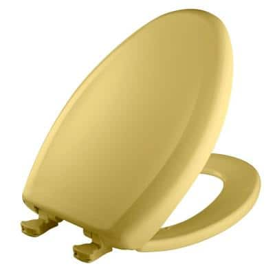 Slow Close STA-TITE Elongated Closed Front Toilet Seat in Yellow