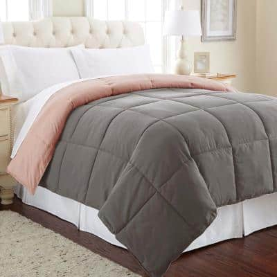 Multi-Colored Charcoal/Misty Rose Down Alternative Reversible Queen Cotton Blend Comforter