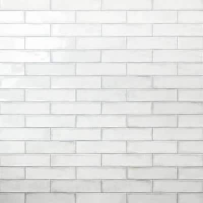 Moze White 3 in. x 12 in. 9 mm Ceramic Wall Tile (22-Piece) (5.38 sq. ft./ Box)