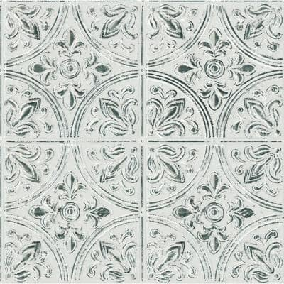 Chelsea Antique White Faux Metallic Tile Wall Decals