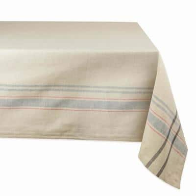 Chambray 60 in. x 120 in. Taupe with Gray French Stripe Cotton Tablecloth