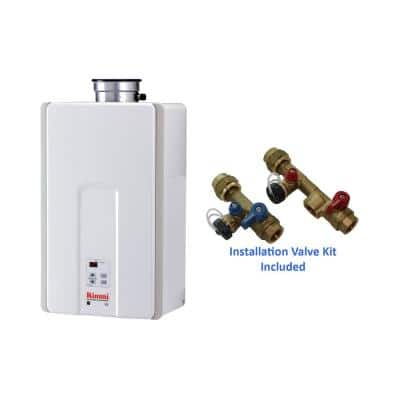 High Efficiency 7.5 GPM Residential Natural Gas Interior Tankless Water Heater with Isolation Valves Bundle