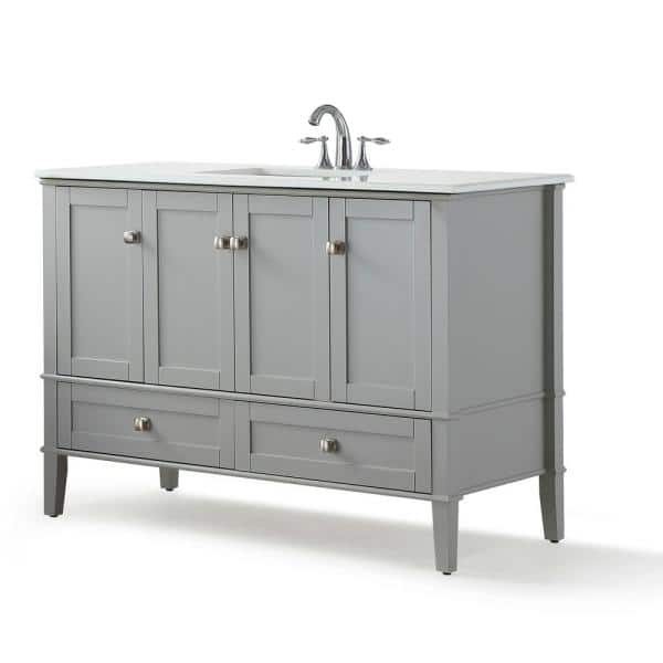 Simpli Home Chelsea 48 In W X 21 5 In D X 34 7 In H Bath Vanity In Grey With Quartz Marble Vanity Top In White With White Basin Hhv029gr 48 The Home Depot