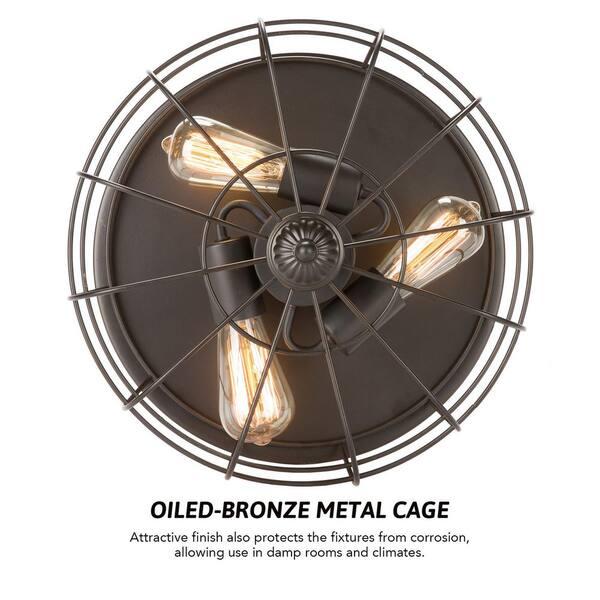 Merra 15 In 3 Light Bronze Metal Industrial Cage Flush Mount Set Of 2 Hcf 1755 Bz Bnhd 1 The Home Depot
