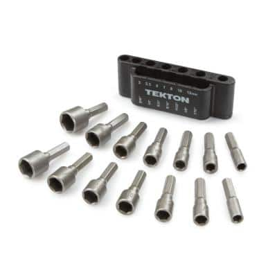 3/16 in. to 7/16 in. 5 mm to 12 mm Steel Power Nut Driver Bit Set (14-Piece)