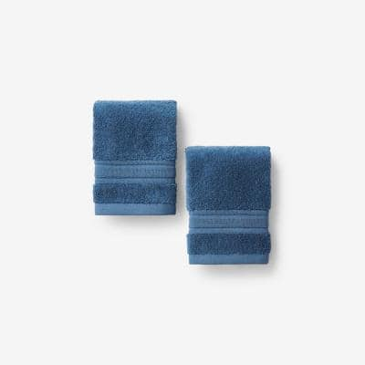 Company Cotton Slate Blue Turkish Cotton 2-Piece Wash Cloth