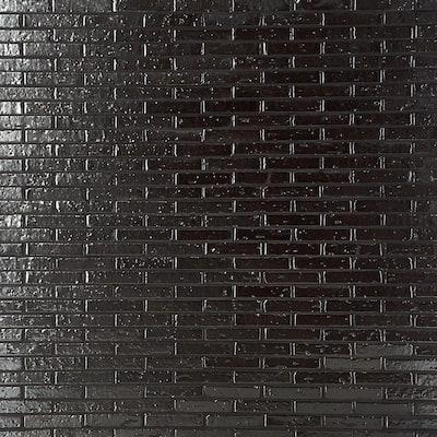Queen Brick Metallic Black 10.6 in. x 12.75 in. 12mm Matte Clay Mosaic Wall Tile (0.94 sq. ft.)