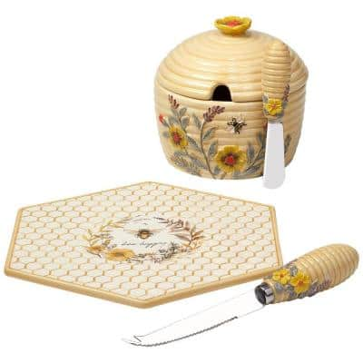 Bee Sweet 5.25 in. Earthenware Cheese Plate with Knife and 3-D Dip Bowl with Spreader