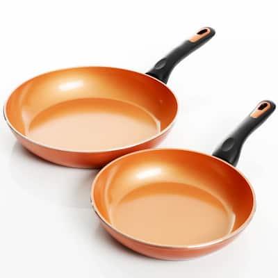 Hummington 2-Piece Aluminum Ceramic Nonstick Frying Pan Set in Metallic Copper
