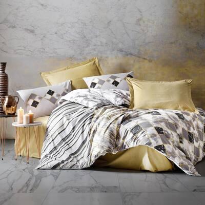 Black Cubes Cotton Duvet Cover Set Beige Full Size Duvet Cover 1-Duvet Cover 1-Fitted Sheet and 2-Pillowcases