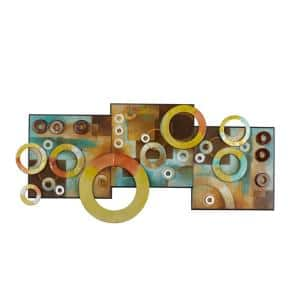 36 in. x 17 in. Contemporary Multicolored Iron Geometric Ring Wall Art Montage