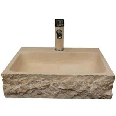 Stonie China Vessel Sink in Beige with Overflow Drain