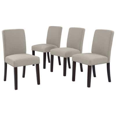 Brisbane Upholstered Dining Chairs in Taupe Linen (Set of 4)