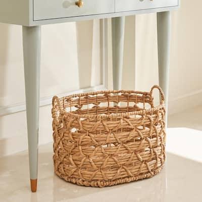Camila Medium Oval Hand-Woven Water Hyacinth Storage Decorative Basket