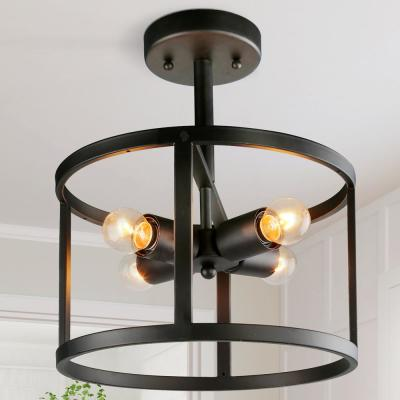 Vintage Versatile 4-Light Classic Black Cage Industrial Semi-Flush Mount Kitchen Ceiling Light