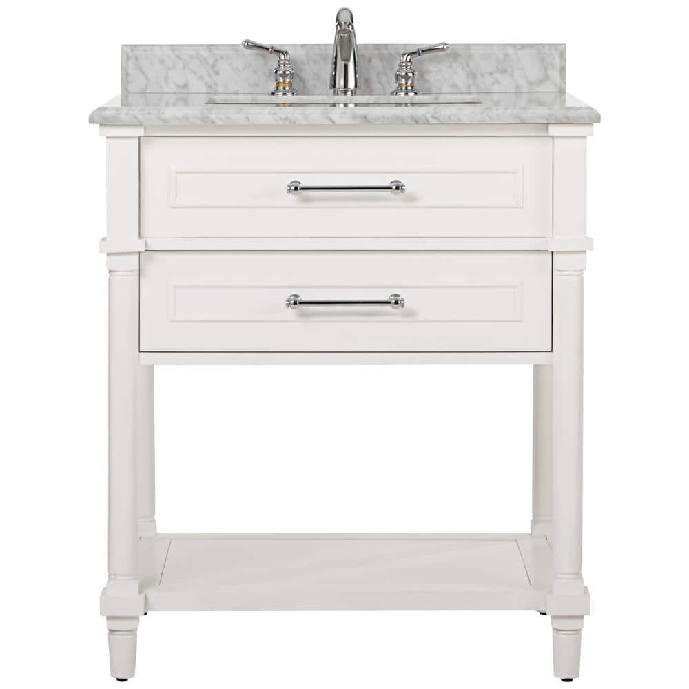 Home Decorators Collection Aberdeen 30 In W Open Shelf Vanity In White With Carrara Marble Top With White Sinks 9784500410 The Home Depot