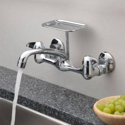 Two Handle Wall Mount with Soap Dish Kitchen Faucet in Chrome