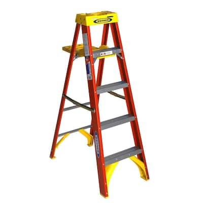 5 ft. Fiberglass Step Ladder with Shelf 300 lb. Load Capacity Type IA Duty Rating
