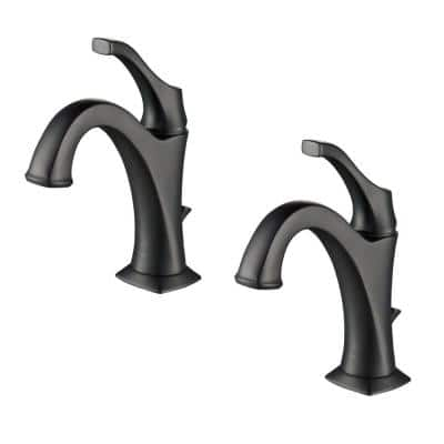 Arlo Matte Black Single Handle Basin Bathroom Faucet with Lift Rod Drain and Deck Plate (2-Pack)