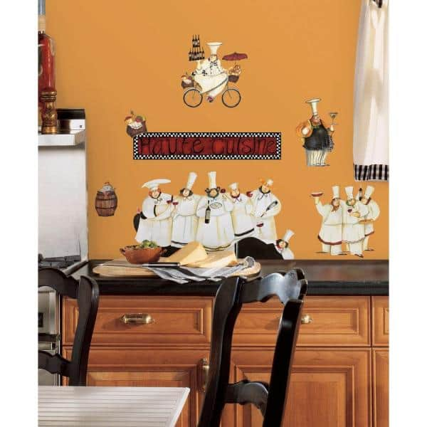 Roommates 18 In X 40 In Chefs 17 Piece Peel And Stick Wall Decals Rmk1255scs The Home Depot