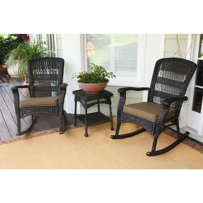 Portside Plantation Dark Roast 3-Piece Wicker Outdoor Rocking Chair Set with Tan Cushion