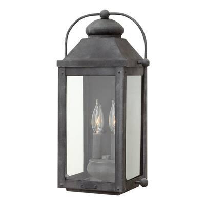 Anchorage Medium 2-Light Aged Zinc Outdoor Wall Lantern Sconce