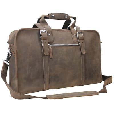 19.7 in. Medium Full Grain Leather Overnight Travel Duffel Bag