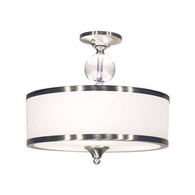 Lawrence 3-Light Brushed Nickel Incandescent Ceiling Flush Mount