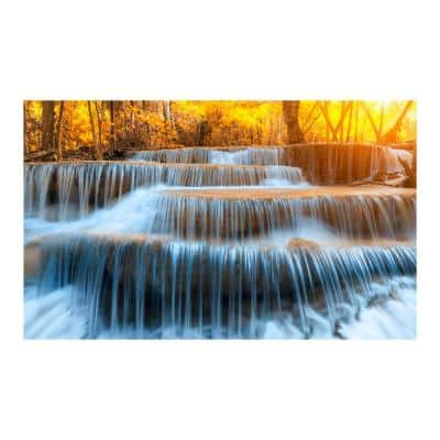"""36 in. x 60 in. """"Autumn Waterfall"""" Tempered Glass Wall Art"""