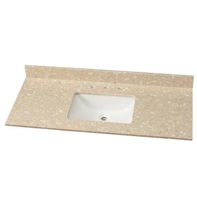 49 in. W Engineered Marble Single Vanity Top in Piatra Beige with White Sink