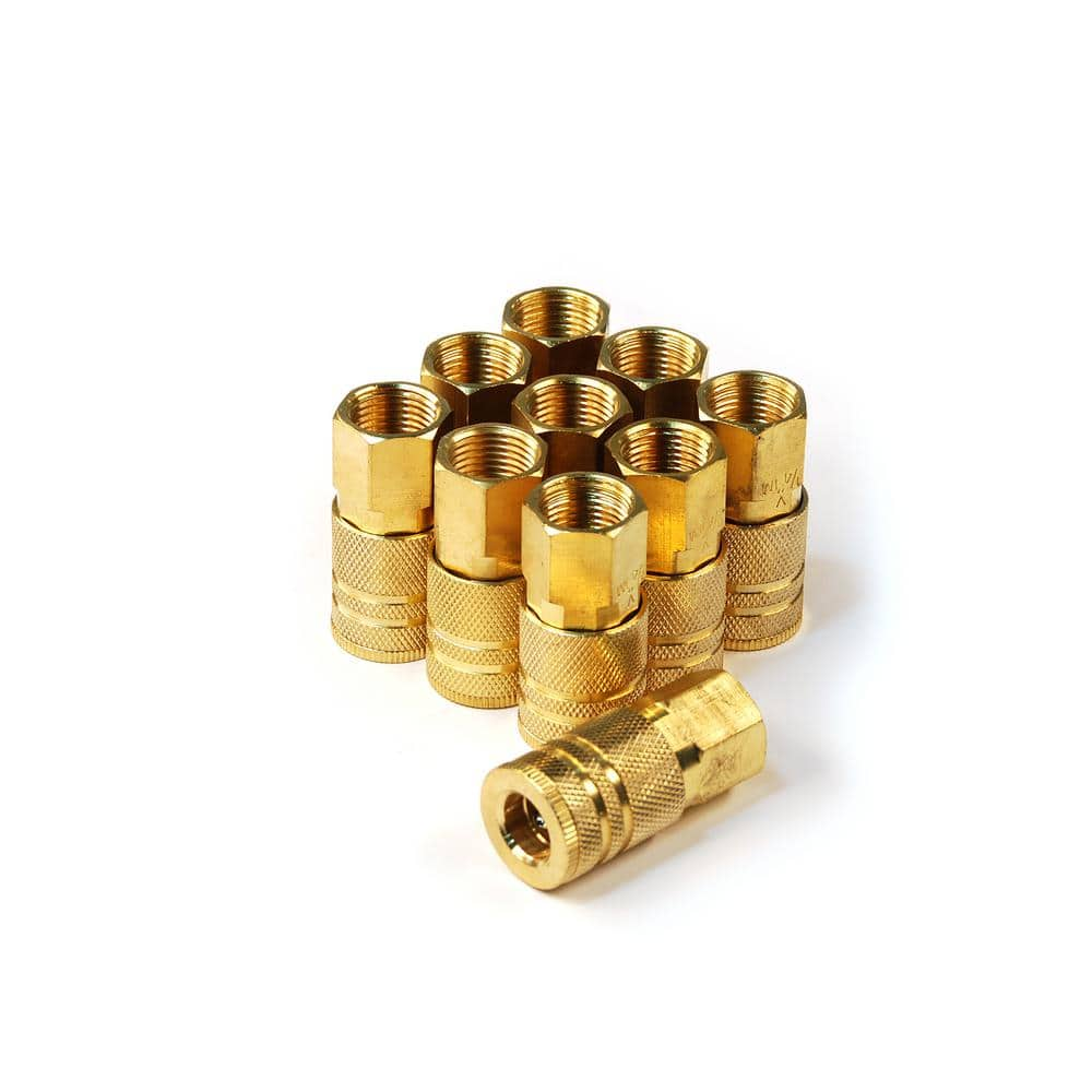 Primefit 6 Ball Industrial M Style Brass Coupler 1 4 In X 3 8 In Female Npt 10 Pack Ic1438fb6 B10 P The Home Depot