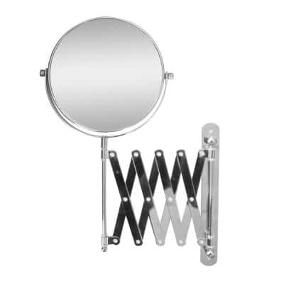 1 W in. x 13.8 H in. Extendable Wall Mount Bath Magnifying Makeup Mirror in Chrome