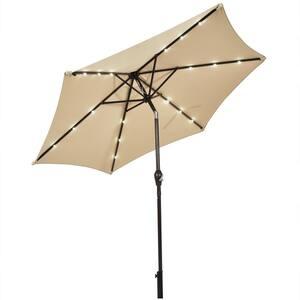 9 ft. Metal Market Solar LED Lighted Tilt Patio Umbrella in Beige with Crank
