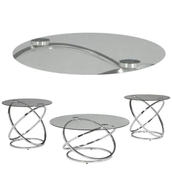 Benjara Contemporary 3 Piece 26 In, Small Round Metal And Glass Coffee Table