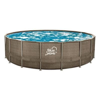 18 ft. Round 52 in. Deep Dark Cocoa Wicker Metal Frame Pool Package with Cover