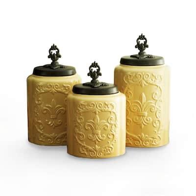 3-Piece Cream Antique Ceramic Canister Set with Lid