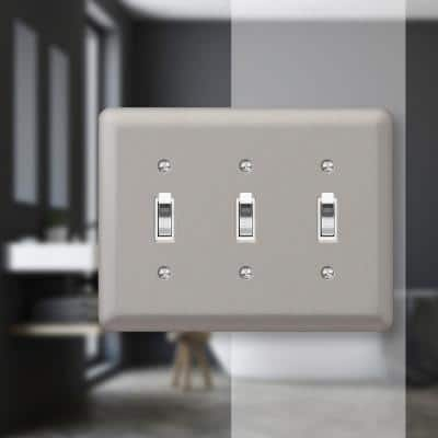 Declan 3 Gang Toggle Steel Wall Plate - Pewter