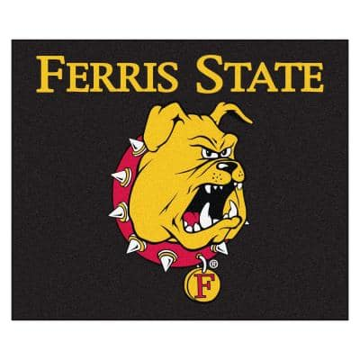NCAA Ferris State University Black 5 ft. x 6 ft. Tailgater Rug Area Rug