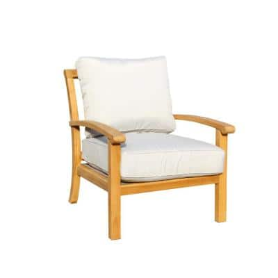 Heritage Collection Teak Outdoor Lounge Chair with Grey Cushions