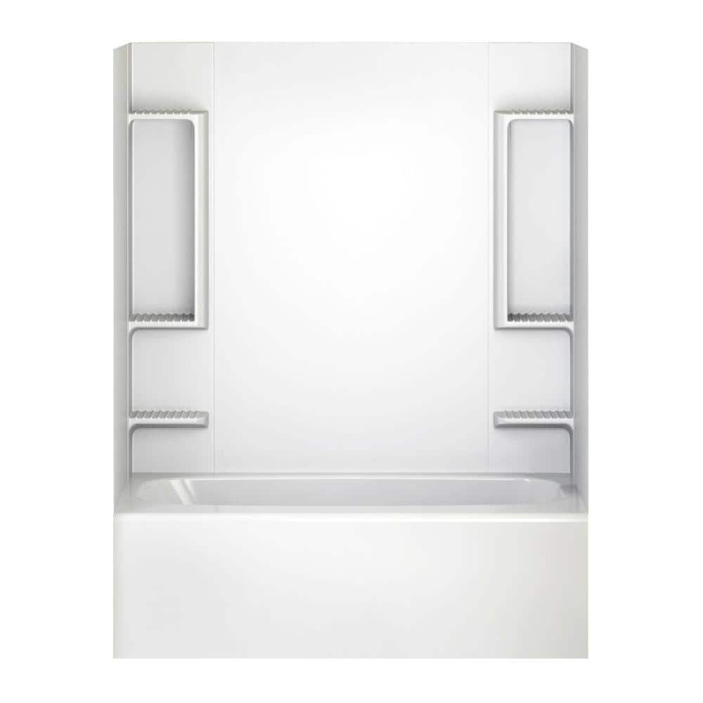 Sturdifit 32 In X 60 In X 58 In 5 Piece Easy Up Adhesive Tub Wall In White 40194 The Home Depot
