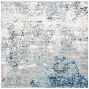 Brentwood Light Gray/Blue 5 ft. x 5 ft. Square Abstract Area Rug
