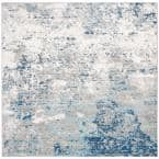 Brentwood Light Gray/Blue 7 ft. x 7 ft. Square Abstract Area Rug