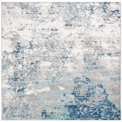 Brentwood Light Gray/Blue 9 ft. x 9 ft. Square Area Rug