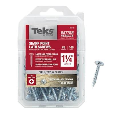 #8 x 1-1/4 in. Fine Zinc-Plated Steel Phillips Truss-Head Sharp Point Lath Screws (140-Pack)