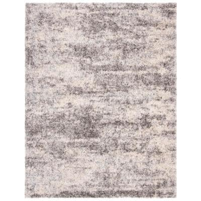 Berber Shag Grey/Cream 9 ft. x 12 ft. Geometric Area Rug
