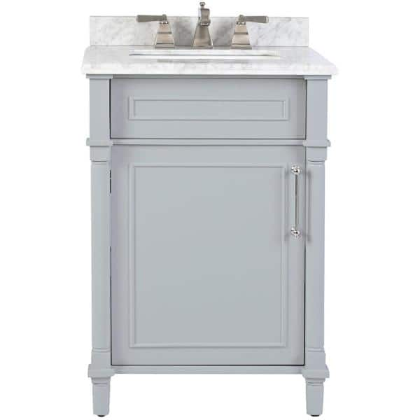 Home Decorators Collection Aberdeen 24 In W X 20 In D Bath Vanity In Dove Grey With Carrara Marble Top With White Sink 8103200270 The Home Depot