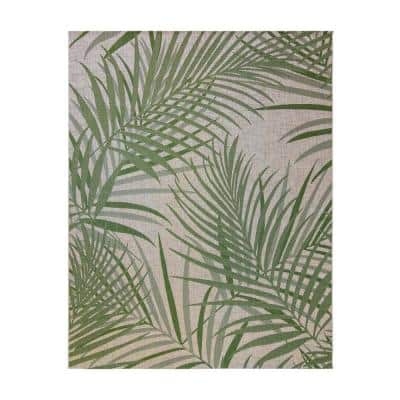 Paseo Paume Sand/Palm 8 ft. x 10 ft. Floral Indoor/Outdoor Area Rug