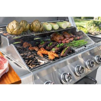 Evolution 5-Burner Propane Gas Grill in Black with Side Burner and Infrared Technology