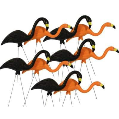 Spooky Flamingo Plastic Halloween Yard Decor Orange and Black (10-Pack)